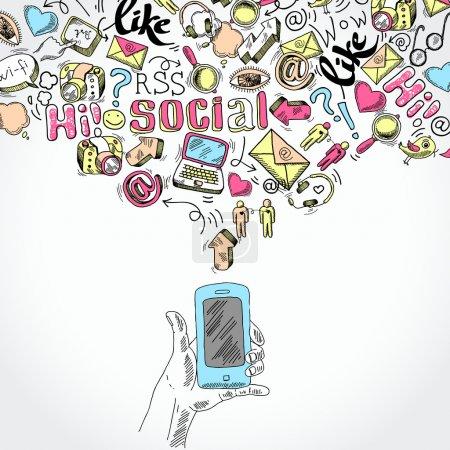 Illustration pour Doodle main tenant mobile smartphone avec blog médias sociaux et les symboles de demandes de communication vector illustration - image libre de droit