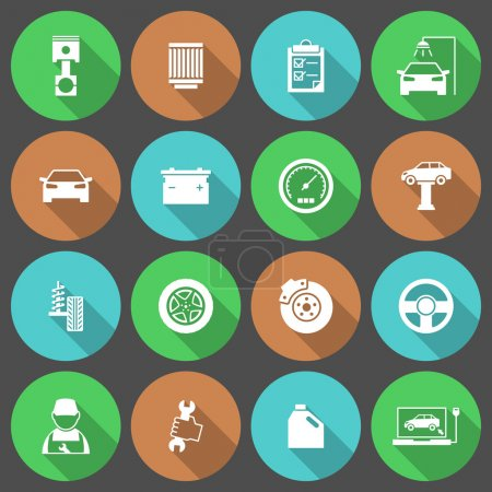 Ilustración de Iconos de servicio de automóviles coche Conjunto de piezas de reparación de neumáticos de aceite del motor y herramientas aisladas ilustración vectorial - Imagen libre de derechos