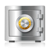 Realistic steel safe icon security concept