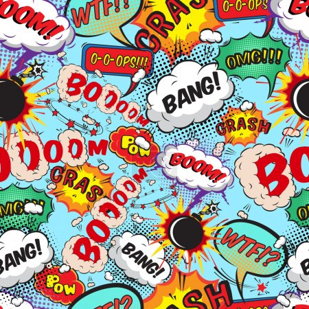 Seamless pattern comic speech bubbles