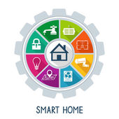 Smart home automation technology concept utilities safety security power and temperature control icons vector illustration