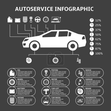Illustration for Car auto service infographics design elements with mechanical parts icons vector illustration - Royalty Free Image