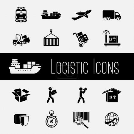 Illustration for Logistic global supply chain icons set of transportation shipping and delivery isolated vector illustration - Royalty Free Image