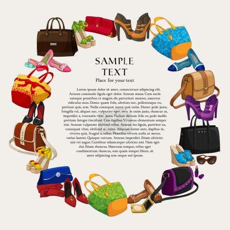 Illustration pour Luxe cadre de shopping de mode fond avec des femmes chaussures sacs et accessoires illustration vectorielle - image libre de droit