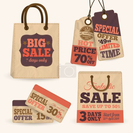 Illustration for Collection of paper sale price tags with shopping bags design templates vector illustration - Royalty Free Image
