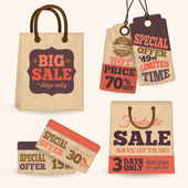 Collection of paper sale price tags with shopping bags design templates vector illustration