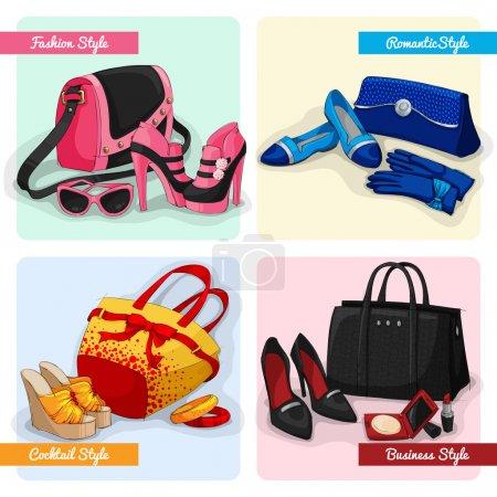 Illustration pour Ensemble de femmes sacs de luxe chaussures et accessoires en mode cocktail romantique et business style isolé vectoriel illustration - image libre de droit