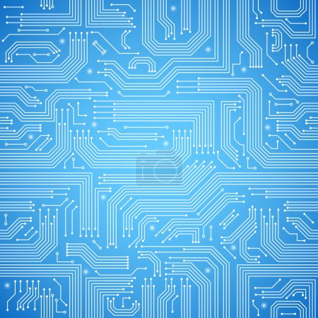 Photo for Computer circuit board bright blue seamless pattern vector illustration - Royalty Free Image
