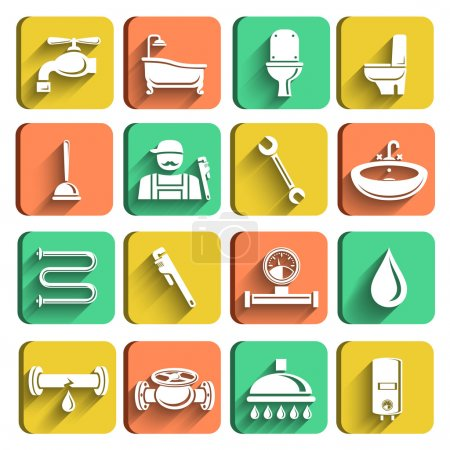 Illustration for Plumbing tools icons set of plumber wrench bathroom and water leak isolated vector illustration - Royalty Free Image