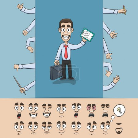 Illustration for Business man character construction pack hand gestures and facial emotions design elements isolated vector illustration - Royalty Free Image