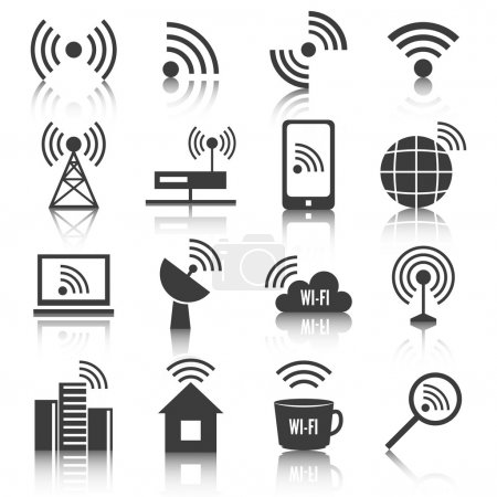 Illustration for Wireless communication network business black icons set of wifi signal search cell tower and transmitter antenna isolated vector illustration - Royalty Free Image