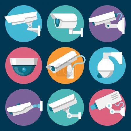 Illustration pour Autocollants couleur de caméras de sécurité multiples CCTV numérique mis illustration vectorielle isolée - image libre de droit