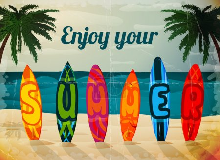 Summer vacation surfboard poster