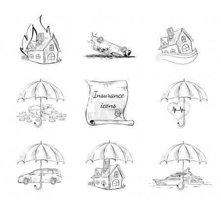 Illustration for Insurance security icons set of property car house and health protection isolated hand drawn sketch vector illustration - Royalty Free Image