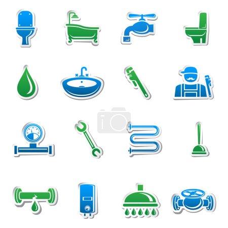 Illustration pour Outils de plomberie autocollant collection d'outils de plomberie et tuyaux éléments de conception illustration vectorielle - image libre de droit