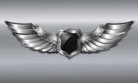 Illustration for Black metal winged 3d shield emblem vector illustration - Royalty Free Image
