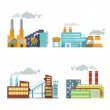 Industrial building factory and power plants icon ...