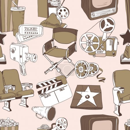 Doodle cinema seamless pattern