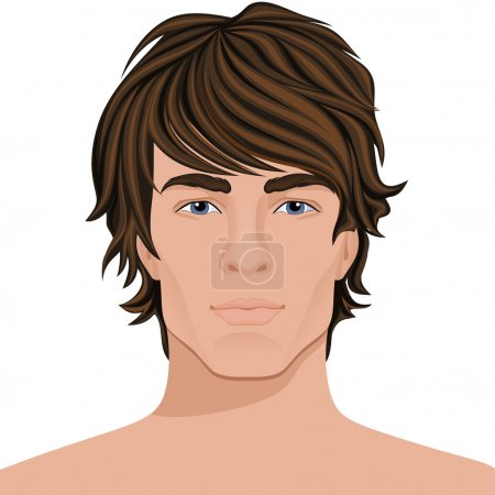 Illustration for Handsome young man with brown hair face portrait vector illustration - Royalty Free Image