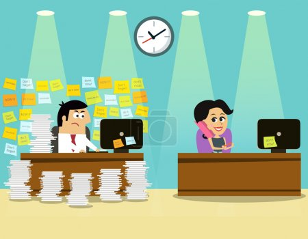 Illustration for Business life hard worker man at the desk overloaded with papers and happy girl concept vector illustration - Royalty Free Image