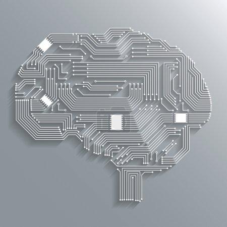 Illustration pour Carte de circuit électronique informatique fond de forme de cerveau ou illustration vectorielle isolée emblème - image libre de droit