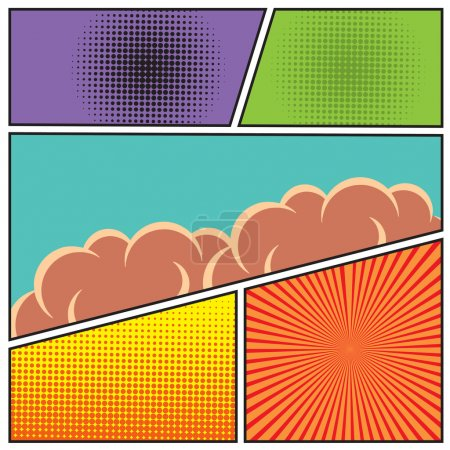 Illustration for Comics pop art style blank layout template with clouds beams and dots pattern background vector illustration - Royalty Free Image