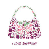 Woman shopping bag purse made of girl accessories and love shopping text poster vector illustration