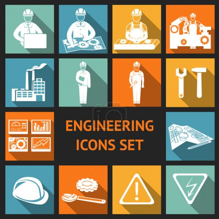 Illustration for Engineering construction and industrial icons set of working industry and equipment symbols vector illustration - Royalty Free Image