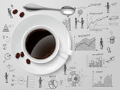Coffee cup and spoon on business progress idea investment option sketch poster vector illustration