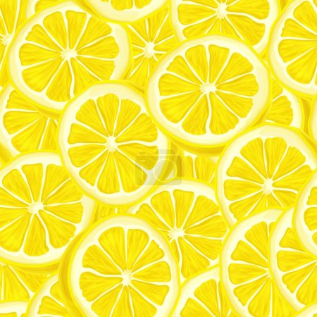 Illustration for Seamless riped juicy sliced lemons pattern background vector illustration - Royalty Free Image
