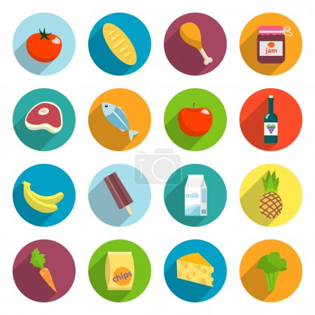 Illustration for Online supermarket foods flat icons set of meat fish fruits and vegetables isolated vector illustration - Royalty Free Image