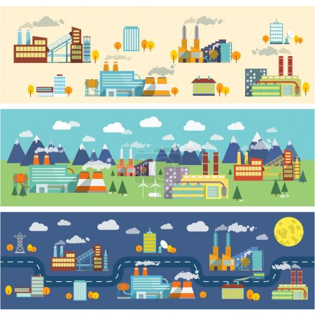 Illustration for Industrial buildings factories facilities public offices and power plants horizontal banners set vector illustration - Royalty Free Image