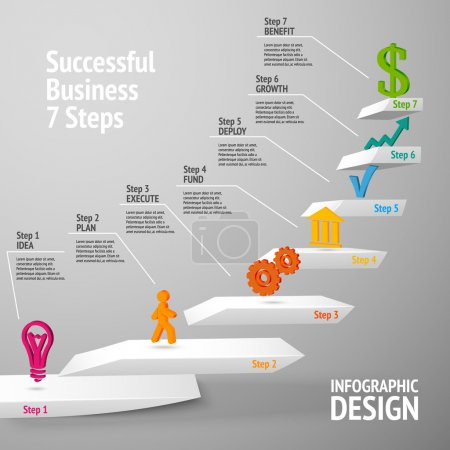 Illustration for Ascending upward staircase uccessful business seven steps concept infographic vector illustration - Royalty Free Image