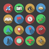 Navigation icons set of pin wind rose radio tower route map isolated vector illustration