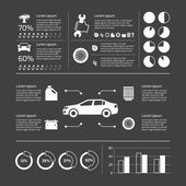 Auto mechanic car service and maintenance infographic elements with charts and graphs vector illustration
