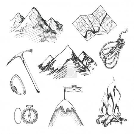 Mountain climbing camping icons