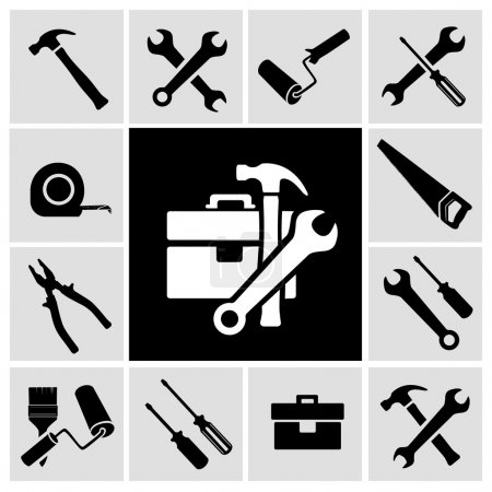 Illustration for A collection of black house maintenance or renovation working tools isolated icons set of hammer wrench screwdriver and measuring tape vector illustration - Royalty Free Image