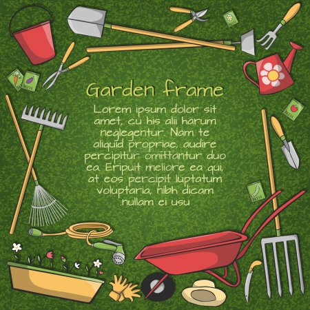 Illustration for Decorative frame of garden accessories instruments and tools on green background vector illustration - Royalty Free Image
