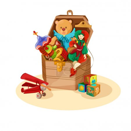 Illustration for Wooden box or chest with retro toys of airplane blocks puppet teddy bear poster vector illustration - Royalty Free Image