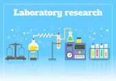 Science laboratory chemistry medical pharmacy research concept with flasks and formulas vector illustration