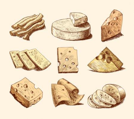 Illustration pour Parmesan cheddar et tranches de fromage fumé morceaux et blocs assortiment gribouillis icônes alimentaires set illustration vectorielle - image libre de droit