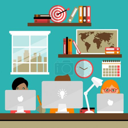 Illustration for Business life people team work on laptop computers in office vector illustration - Royalty Free Image