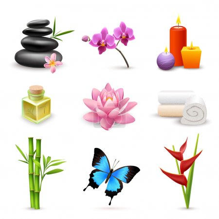 Illustration for Realistic 3d spa beauty health care icons set with bamboo lotus candles isolated vector illustration - Royalty Free Image