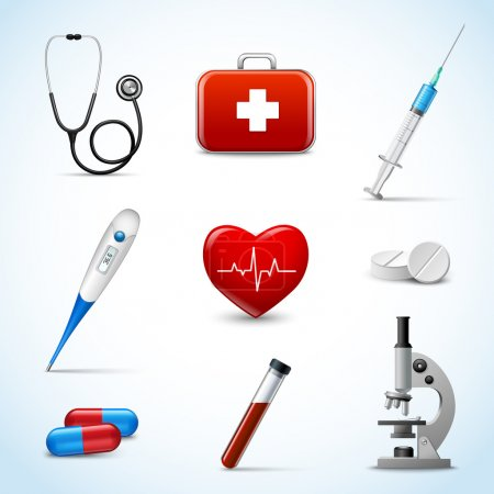 Illustration for Realistic 3d medical emergency first aid care icons set with heart pill thermometer isolated vector illustration - Royalty Free Image