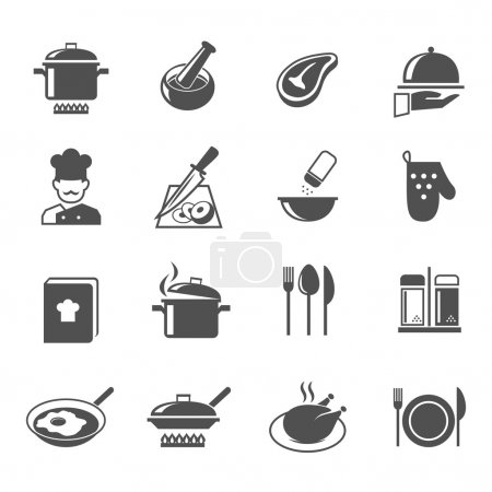 Illustration for Cooking kitchen and restaurant icons set with utensil chef and food isolated vector illustration - Royalty Free Image