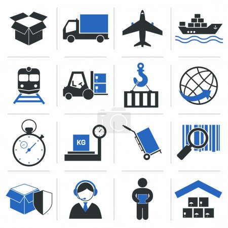 Illustration for Logistic service icons and shipping elements set of vector illustration - Royalty Free Image