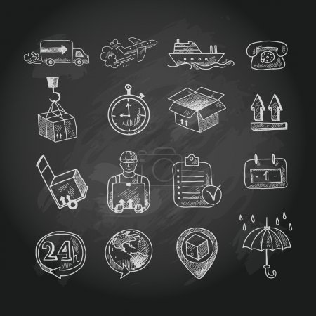 Illustration for Logistic shipping freight service chalk board icons set isolated vector illustration - Royalty Free Image