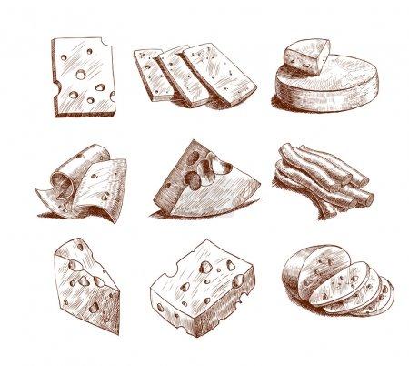 Illustration pour Blocs de fromage entiers et tranches assortiment gribouillis icônes alimentaires set illustration vectorielle - image libre de droit