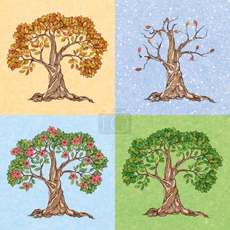 Illustration pour Quatre saisons été automne hiver printemps arbre papier peint vecteur illustration - image libre de droit