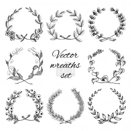 Illustration for Sketch hand drawn traditional winning laurel branch wreaths set isolated vector illustration - Royalty Free Image
